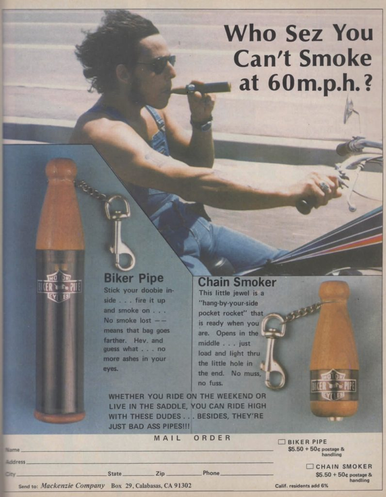 funny weed pipe magazine ad