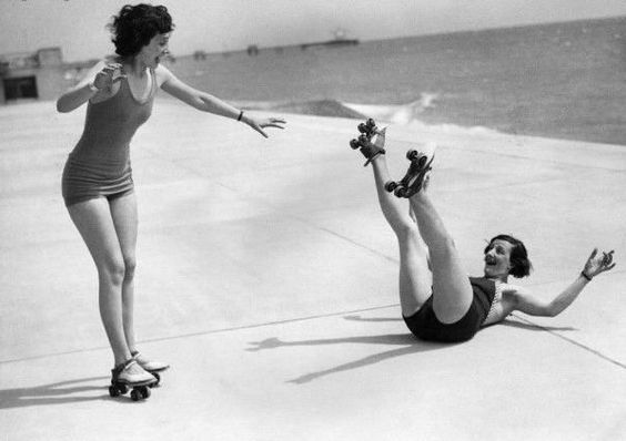 funny old black and white roller skating