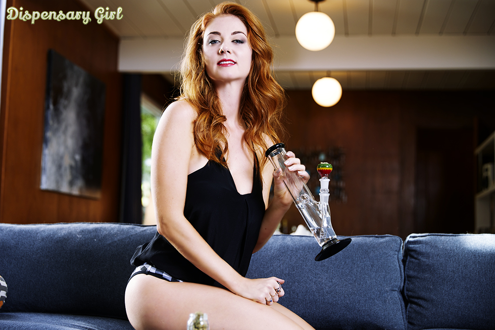 dispensary girl model inessa bong couch