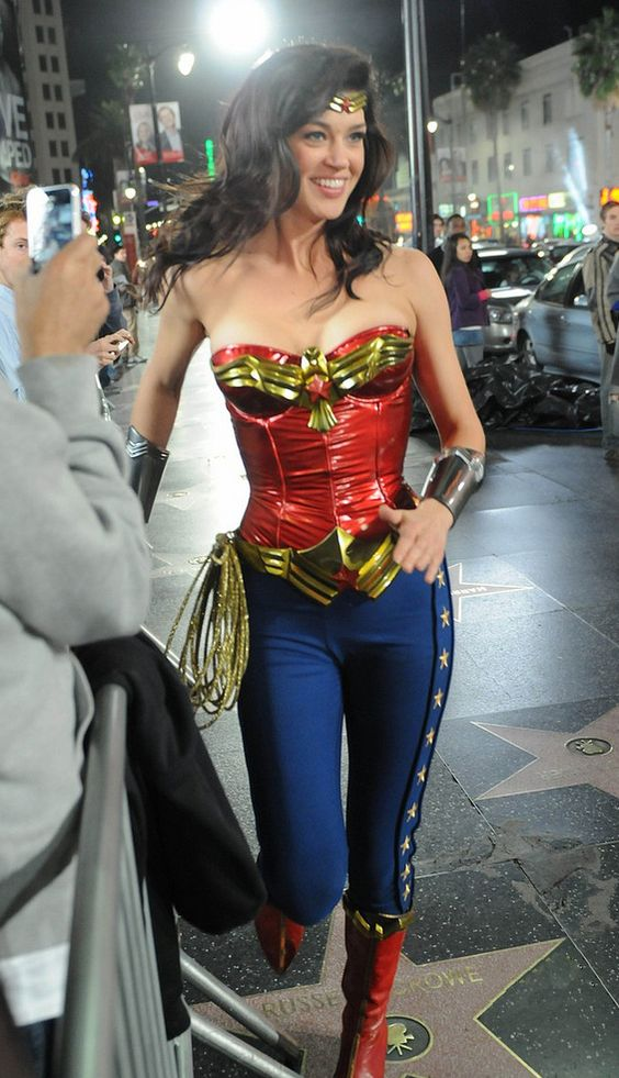 out on the street with wonder woman