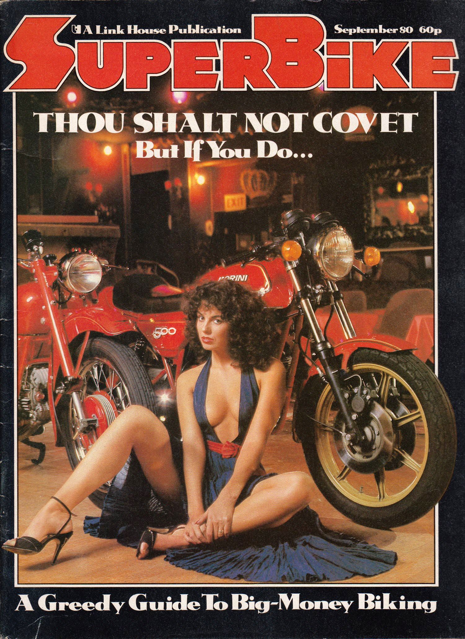 brunette babe motorcycle superbike cover 1980