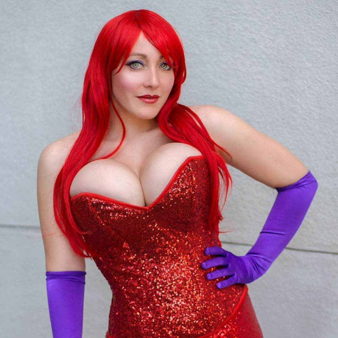 jessica rabbit sexy cosplay purple gloves red dress hair