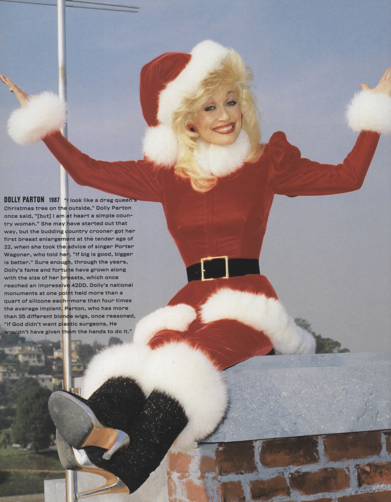 dolly parton in holiday outfit busty dolly