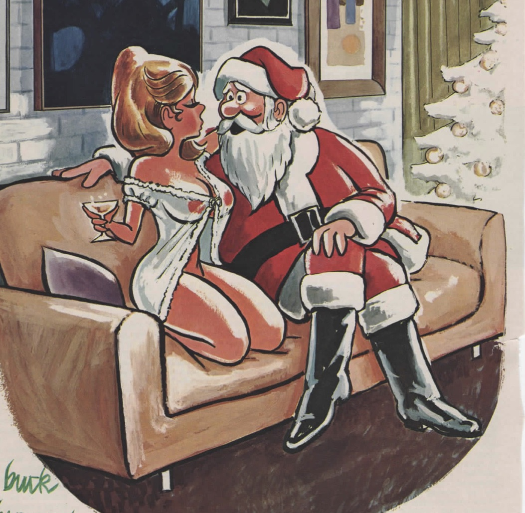 funny cartoon santa with sexy girl in lingerie