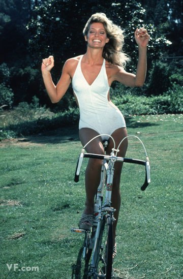 farrah fawcett in white one piece