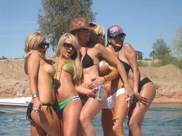 five tan babes partying at the lake