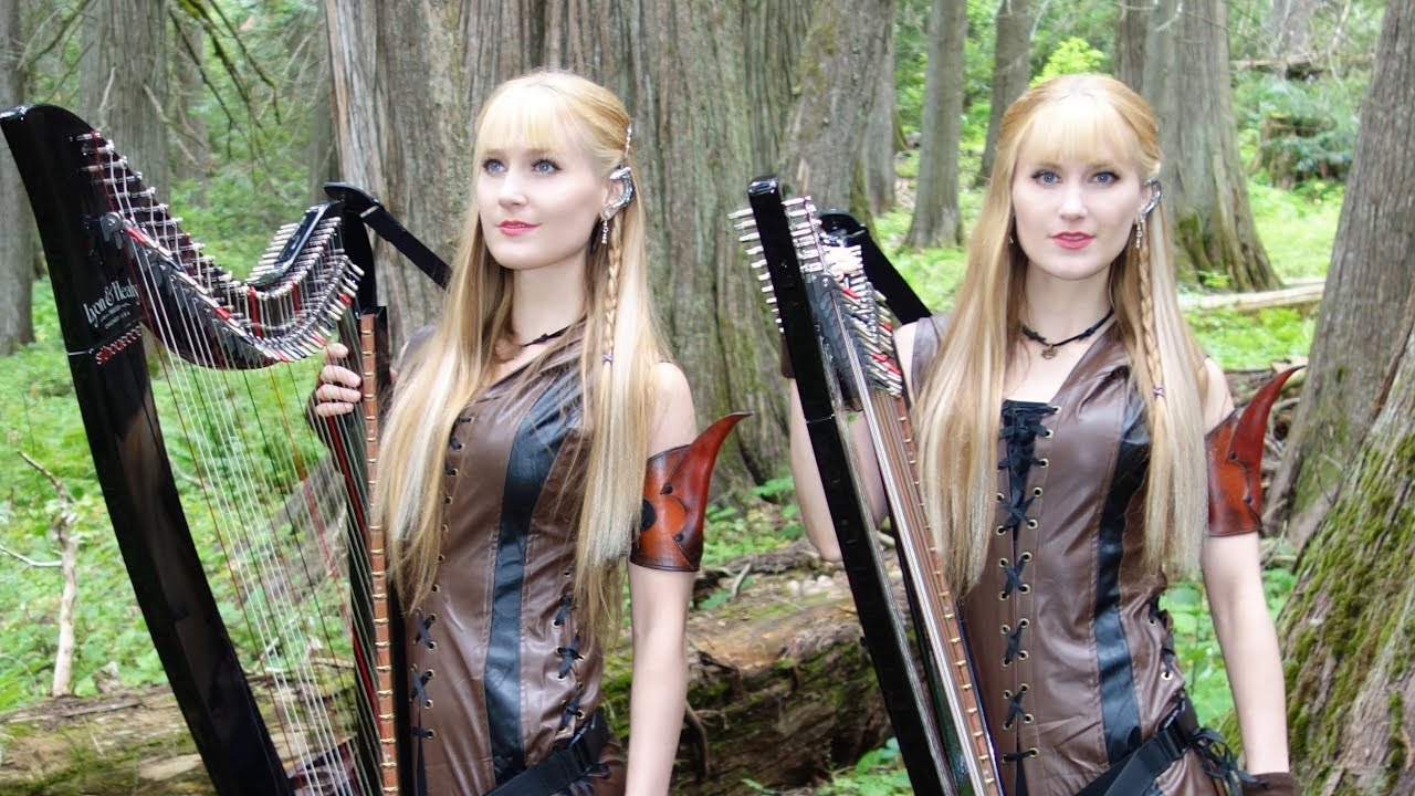 blonde twin sisters harp girls in cosplay