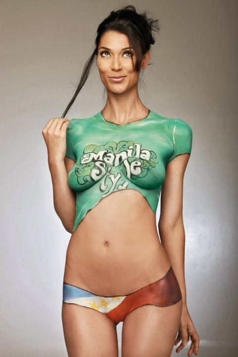 tall brunette babe with body paint