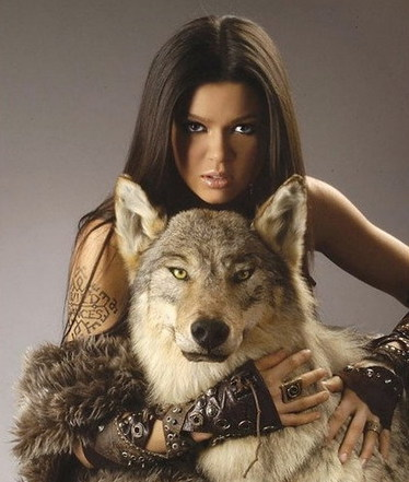 hot babe with wolf eyes of the wolves