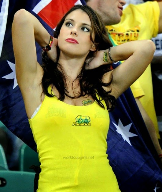 knockout brunette at futbol game australia