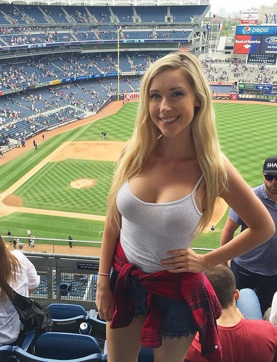 attractive blonde girl at dodger stadium tank top