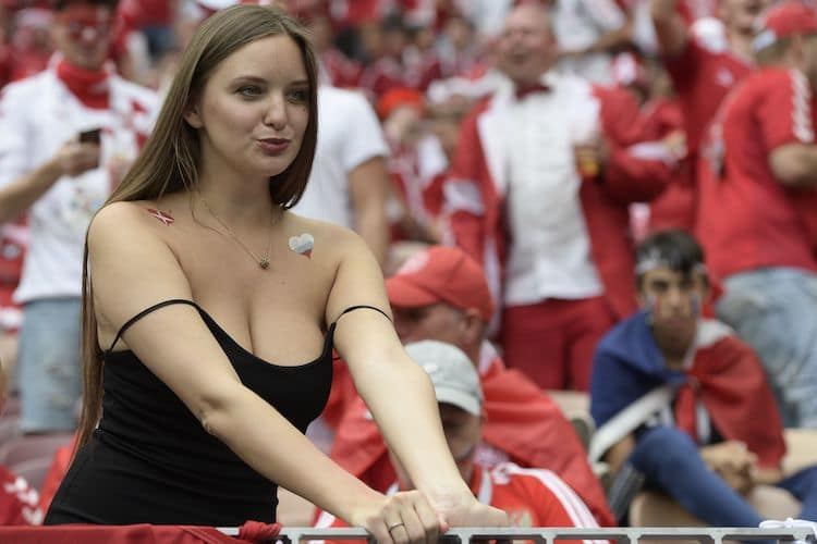 brunette babe at football game halftime