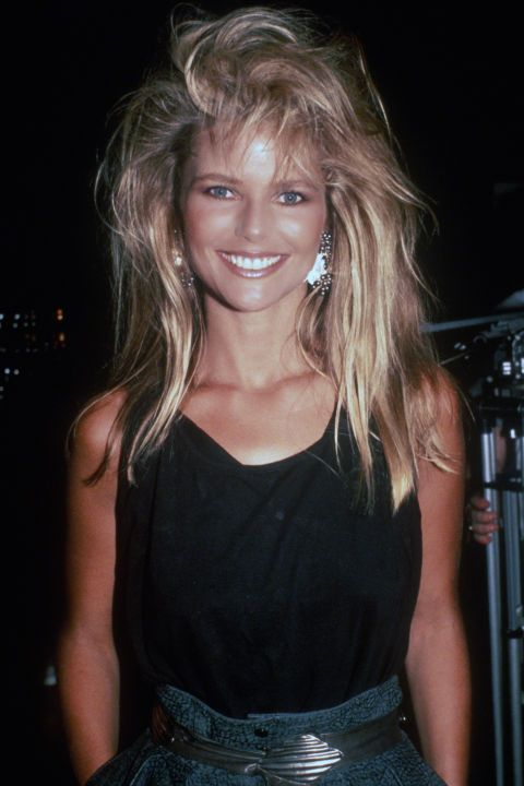 christie brinkley feather hair beauty