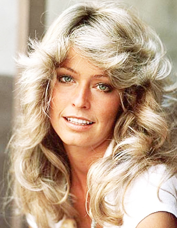 farrah fawcett feather hair haired