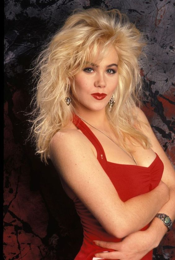 christina applegate red dress big hair