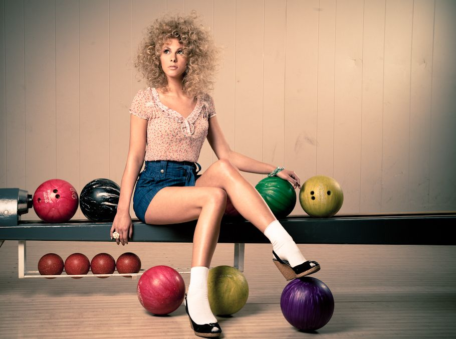 curly haired girl bowling shoot