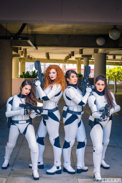 four babes dressed up as stormtroopers